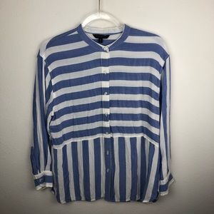 Banana Republic Striped Chambray Button Up Top M